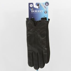 Isotoner Classic Leather Touchscreen Gloves Black
